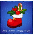 Red Shoe Santa closeup with cane lollipop vector image