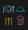 restaurant flat line icons vector image vector image
