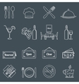 Restaurant icons set outline vector image