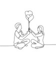 romantic dating concept one continuous line vector image