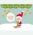 Santa claus with gifts list in snowscape