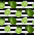 seamless pattern with whole and sliced limes vector image vector image