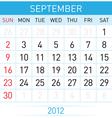 september calendar vector image vector image