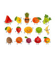 set of funny fruits food concept cartoon vector image vector image