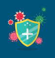 shield protecting virus icons vector image