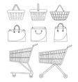 Shopping bag basket trolley cart Icon set vector image