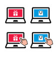 shopping online laptop with present and shopping vector image vector image