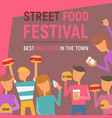 street food festival poster vector image vector image