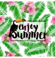 Summer poster with palm leaves seashore flower vector image vector image