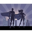 Superhero and female superhero silhouettes vector image vector image