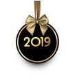 white and black 2019 new year card with gold satin vector image