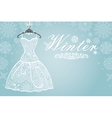 Winter cardBridal dress with snowflake lace vector image vector image