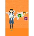 Woman holding tablet computer with social media vector image