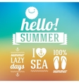 Hello summer icons set with sun and sea on blue vector image