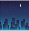 Silhouette of the city and night with stars moon vector image