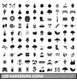100 gardening icons set in simple style vector image vector image
