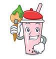 artist raspberry bubble tea character cartoon vector image vector image