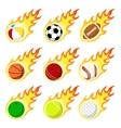 Ball label flame sticker set flat style vector image vector image