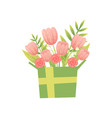 bouquet of pink flowers in box hello spring vector image