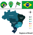 Brazil map with named regions vector image vector image