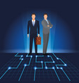 businessmen with digital landscape vector image vector image