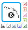 candlestick chart bitcoin fall framed icon vector image