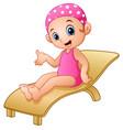 cartoon girl sitting on beach chair vector image