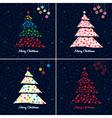 christmas tree background set vector image