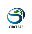 circle leaf logo concept design initial letter s vector image vector image