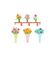 collection beautiful bouquets on wooden shelf vector image vector image