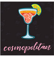 cosmopolitan glass of cocktail black background ve vector image
