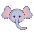 cute and tender elephant head character vector image vector image