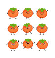 cute persimmon characters set with differen vector image vector image