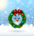 decorated christmas wreath Christmas card vector image vector image
