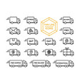delivery truck shipping service thin line icon set vector image vector image