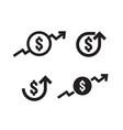 dollar increase icon set money symbol with arrow vector image vector image