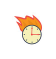 flat burning wall clock deadline concept vector image vector image