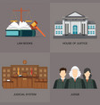 four square flat law icon set with judicial system vector image vector image