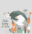 funny animals under umbrella autumn time rainy vector image