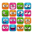 Funny colorful square faces set vector image