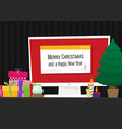 geek happy new year and christmas card flat vector image