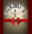 gold 2019 new year background with clock and red vector image vector image