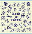 hand drawn school icons and symbols on notebook vector image vector image