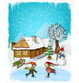 hand drawn winter scenery vector image