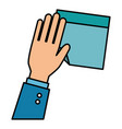 hand human with document paper isolated icon vector image vector image