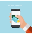 Hand with Abstract Phone and Mobile Payment vector image vector image