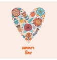 Heart made of flowers Doodle vector image vector image