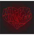 heart made of text happy valentines day vector image vector image