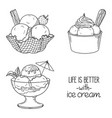 ice cream served in bowls vector image vector image