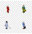 isometric person set of plumber female housemaid vector image vector image